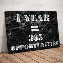 "Load image into Gallery viewer, ""One Year = 365 Opportunities"" Black Marble Entrepreneur Print"