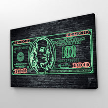 Load image into Gallery viewer, $100 Bill Neon Money Art Print