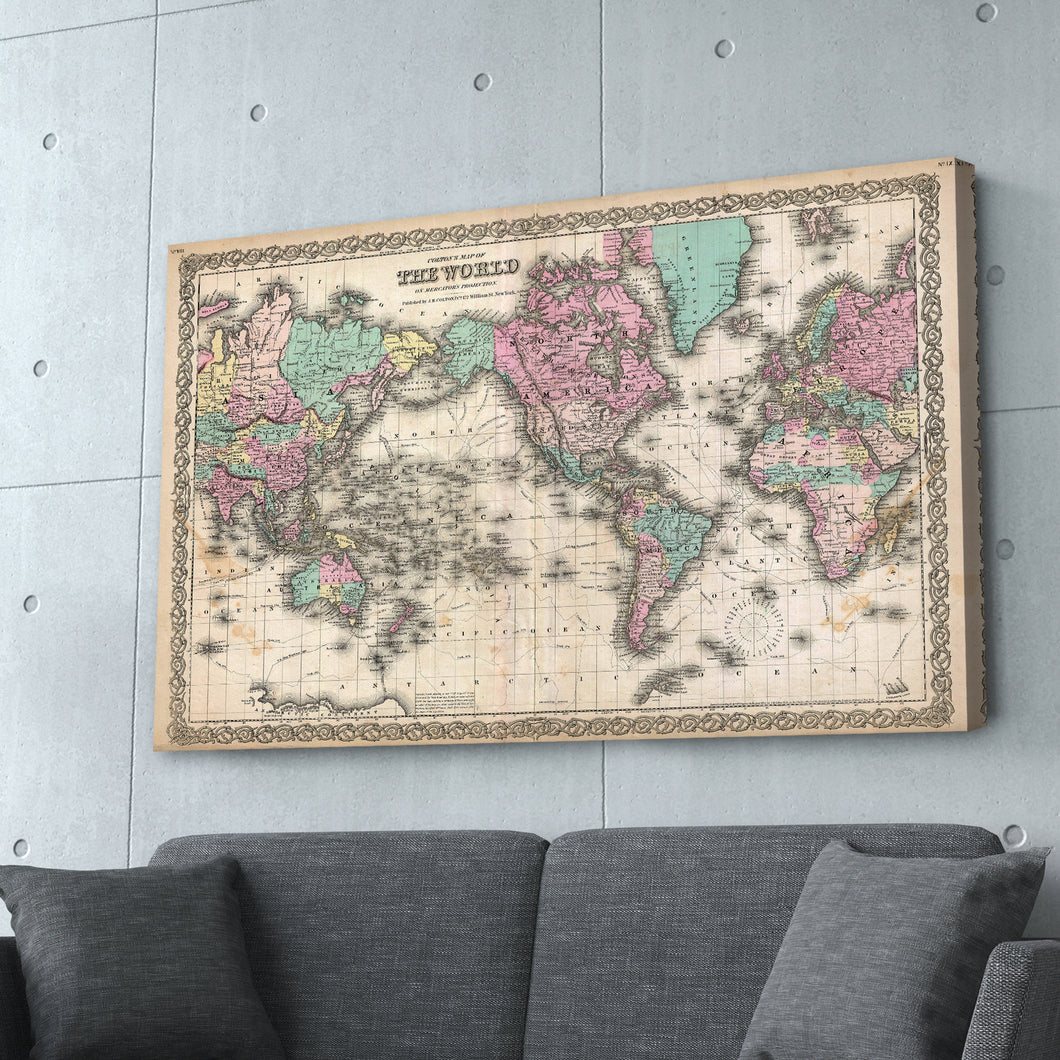 Antique Vintage World Map Print
