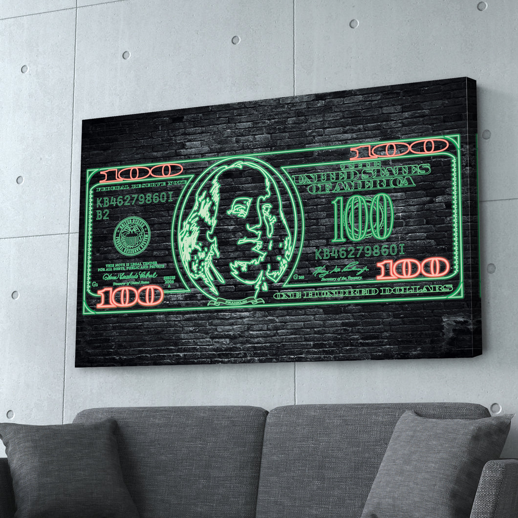 $100 Bill Neon Money Art Print