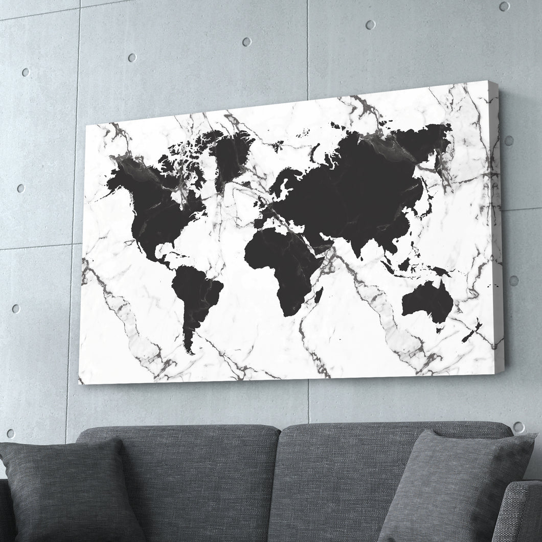 World Map Black & White Marble Print