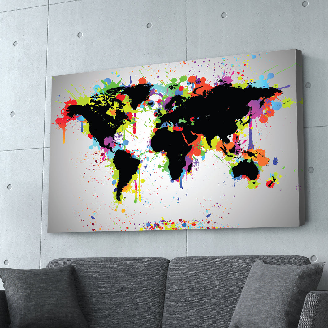 World Map Graffiti Art Print
