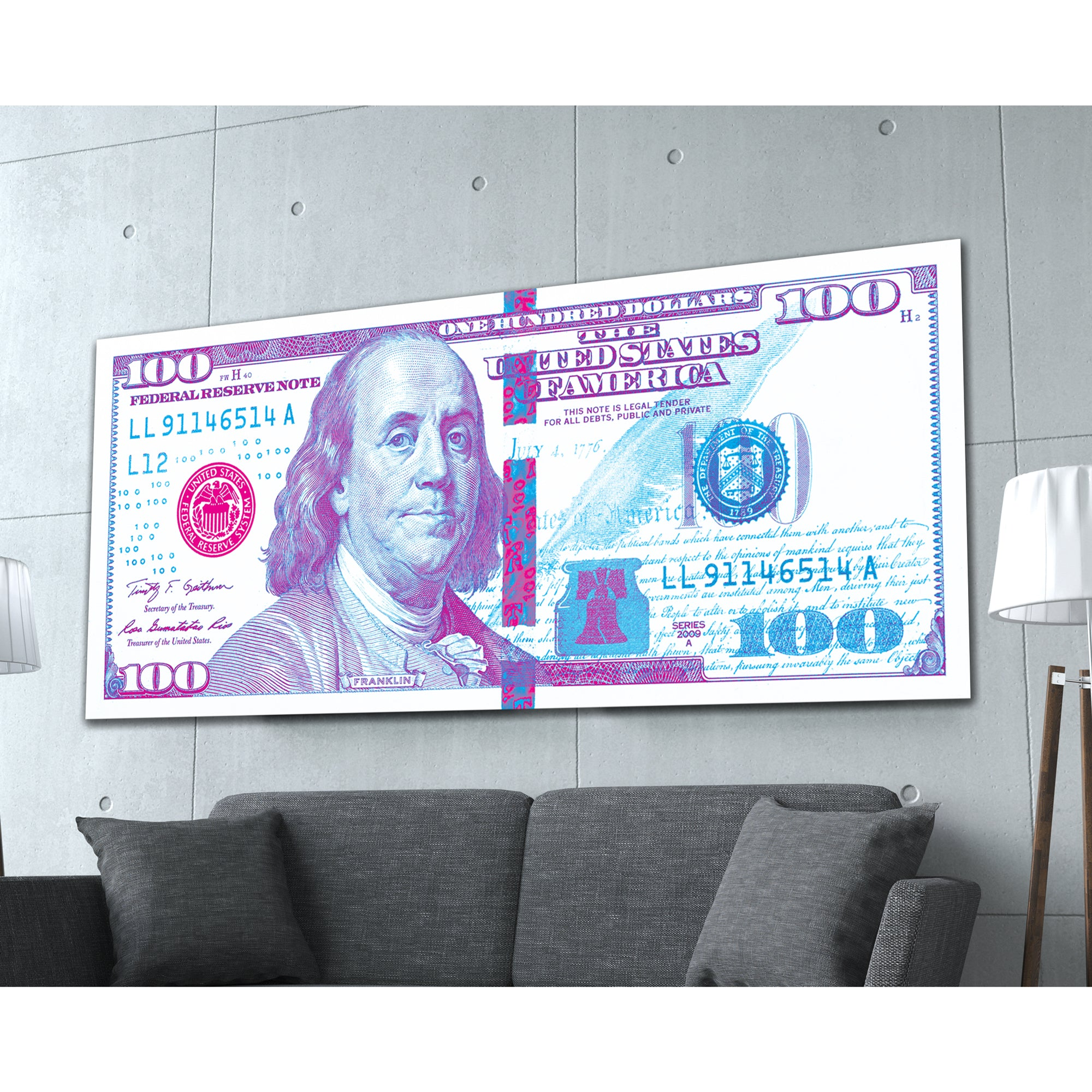 $100 Bill 80s Retro Money Art Print