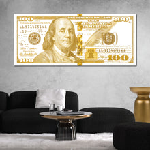 Load image into Gallery viewer, $100 Bill White & Gold Money Art Print
