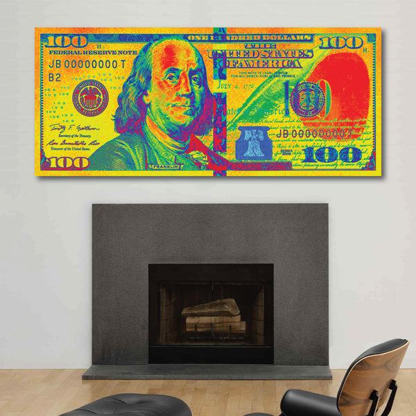 $100 Bill 70s Retro Money Art Print