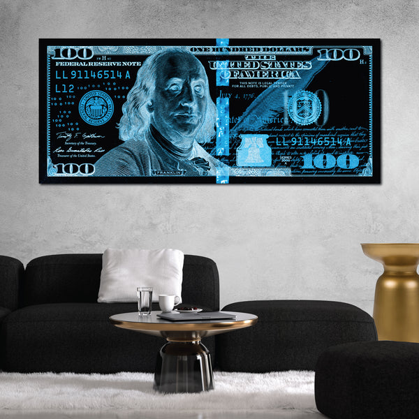 $100 Bill Black & Blue Money Art Print