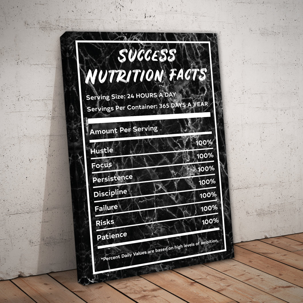 Success Nutrition Facts Black Marble Entrepreneur Print