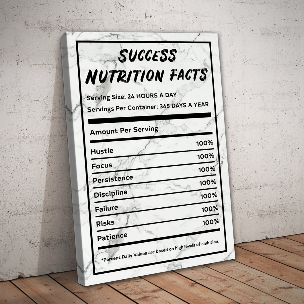 Success Nutrition Facts White Marble Entrepreneur Print