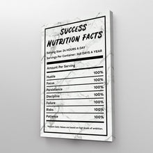 Load image into Gallery viewer, Success Nutrition Facts White Marble Entrepreneur Print