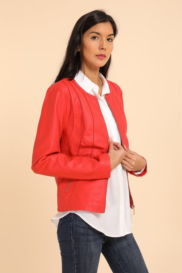 Coral Vegan Leather Jacket