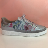 Leather Silver/Flowers Sneakers - Tiramisu Shoes