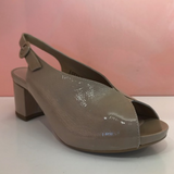 Beige Patent Leather Sandals - Tiramisu Shoes