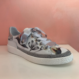 Leather White/Silver Sneakers - Tiramisu Shoes