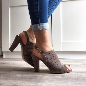 Taupe Suede Sandals - Tiramisu Shoes