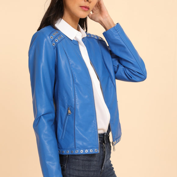 Blue Vegan Leather Jacket