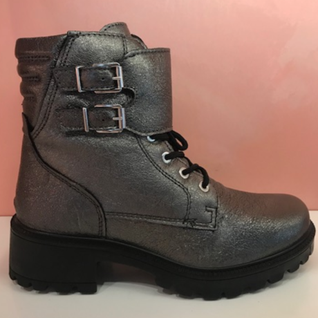 Silver Metallic Combat Boots - Tiramisu Shoes