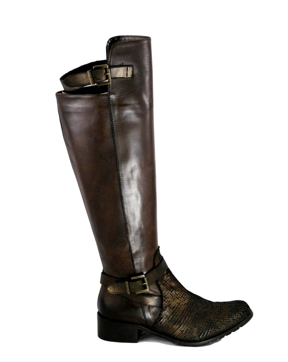 Emanuele Crasto Bronze over the Knee Boot - Tiramisu Shoes