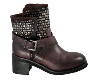 Piranha Bordeaux Leather Ankle Boot - Tiramisu Shoes