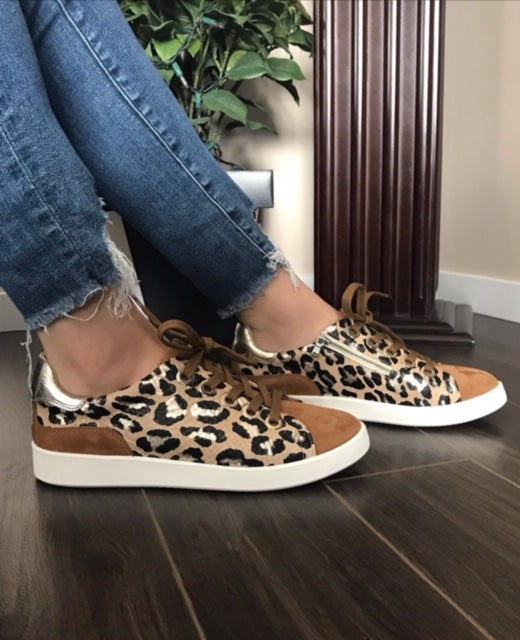 Leather Cognac/Leopard Sneakers - Tiramisu Shoes