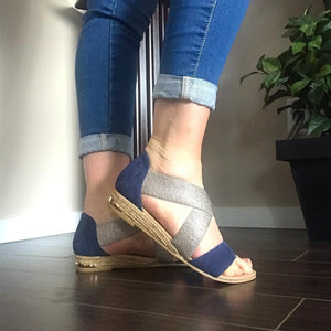 Flat Blue/Silver Sandals - Tiramisu Shoes