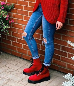Red Combat Boots - Tiramisu Shoes