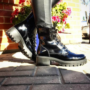 Combat Patent Leather Boots - Tiramisu Shoes