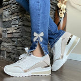 White/Silver Wedge Sneakers