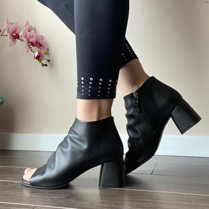 Black Open Toe Boots by Melluso