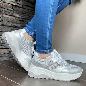 White Wedge Leather Sneakers