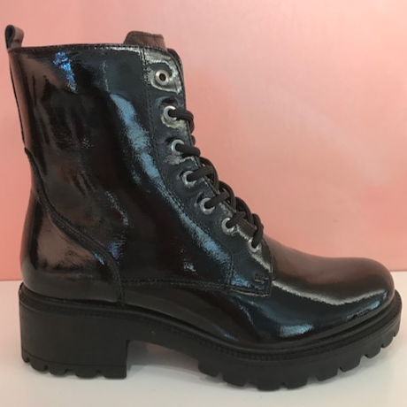 Combat Patent Leather Boots