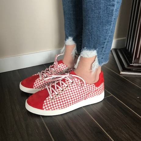 Leather White/Red Sneakers - Tiramisu Shoes