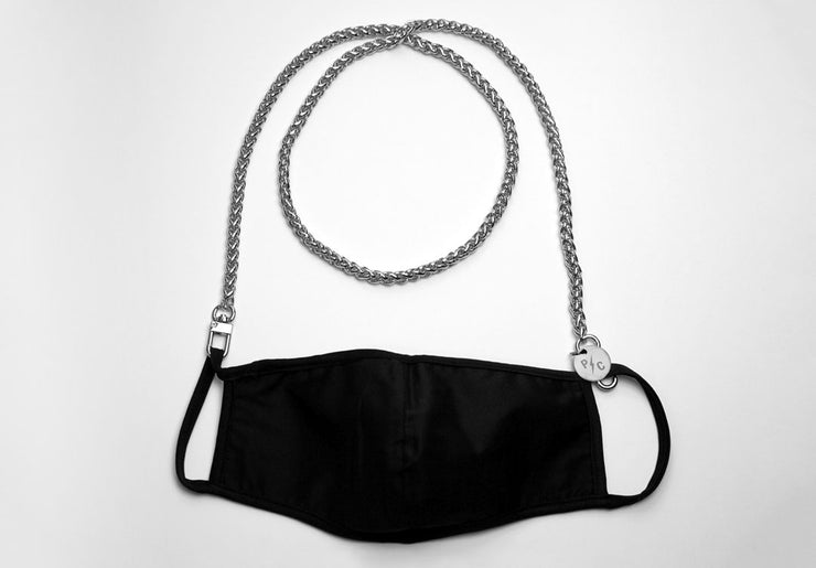 Product image of a silver face mask chain