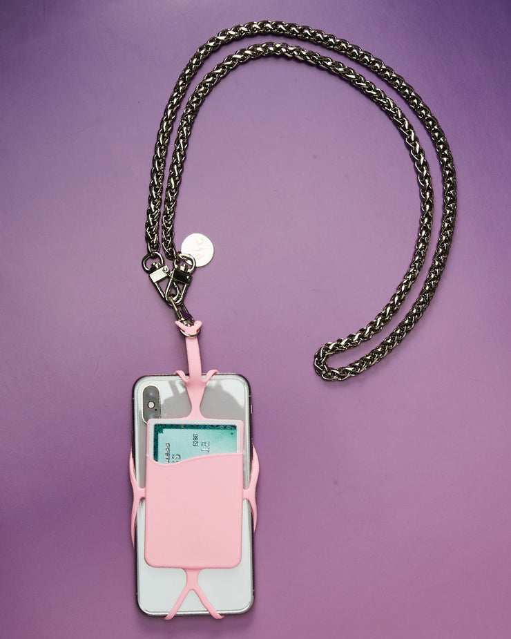 Sandra Cell Phone + Card Holder + Silver Chain Strap