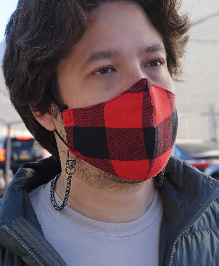 Buffalo Plaid Face Mask - White/Black