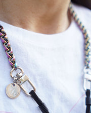 Close up image of mermaid rainbow iridescent face mask chain necklace holder around neck