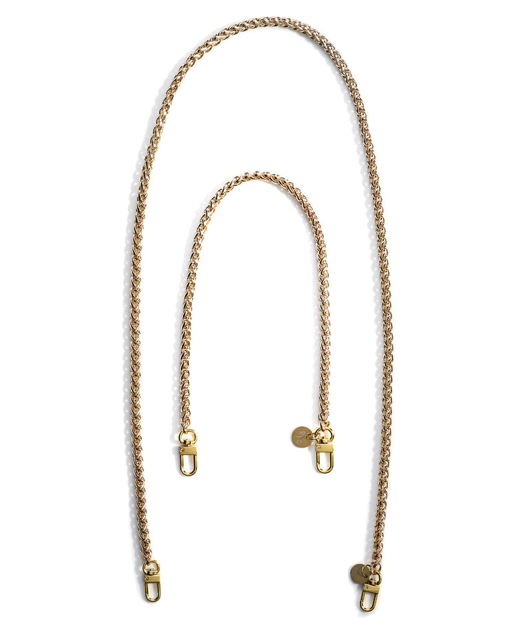 Product shot of gold face mask chain holder, small and large sizes