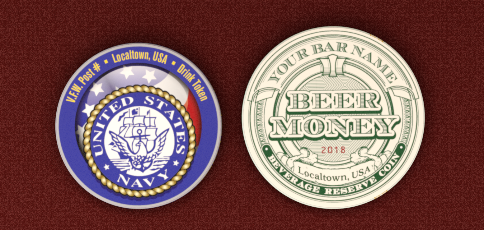 Paper-Currency-Style Pub Coins - Semi-Custom - 43mm