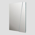 Side view of the modern minimalist ICEBERG mirror, clear mirror mounted on MDF panel, available in two practical dimensions, easy mounting using a pair of d-hooks, designed and made in Montreal Canada.