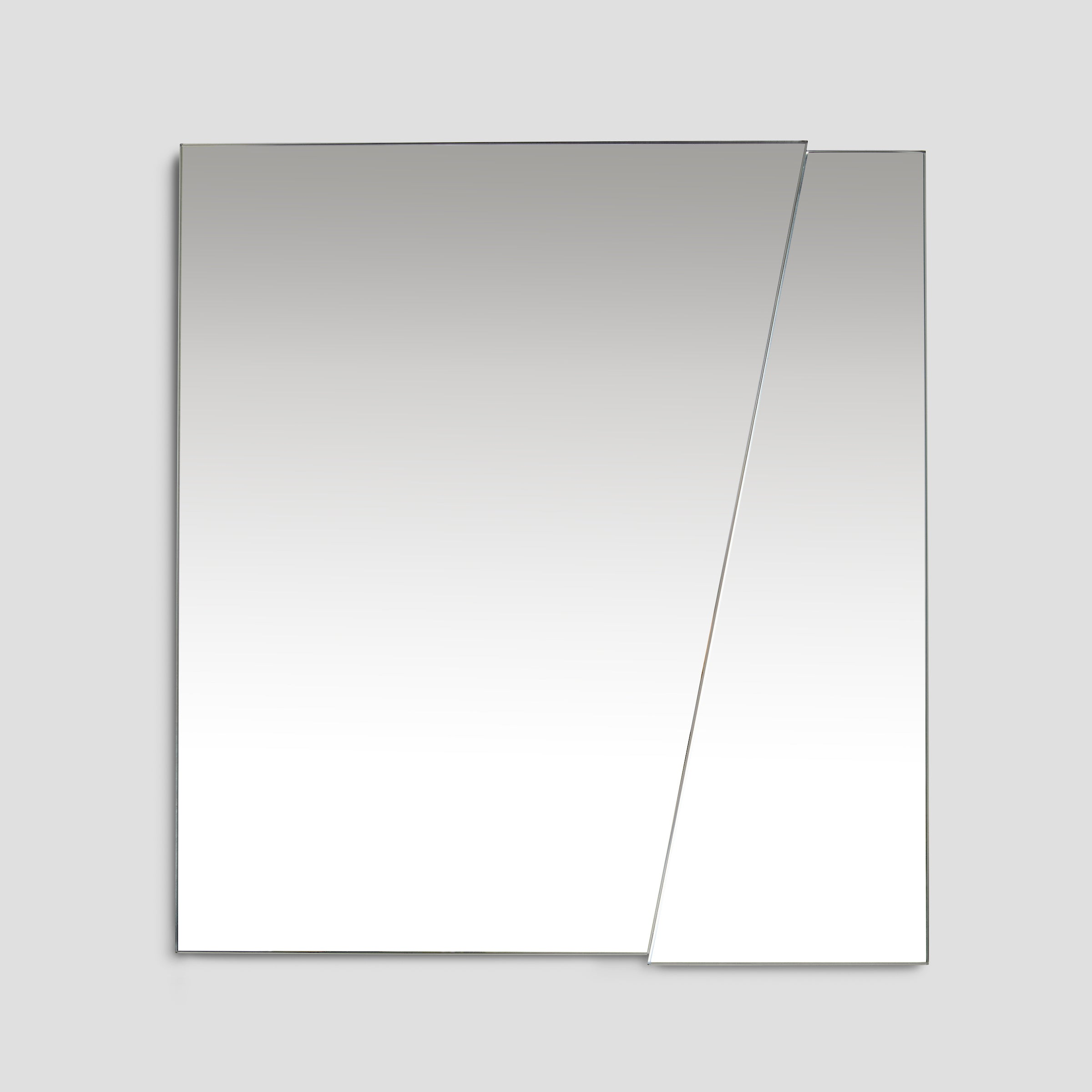 Front view of the modern minimalist ICEBERG mirror, clear mirror mounted on MDF panel, available in two practical dimensions, easy mounting using a pair of d-hooks, designed and made in Montreal Canada.