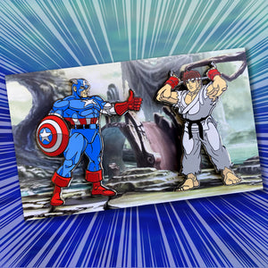 Open image in slideshow, ClayGrahamArt vs PinPlugged Round 2 - Captain America vs Ryu Enamel Pin Set