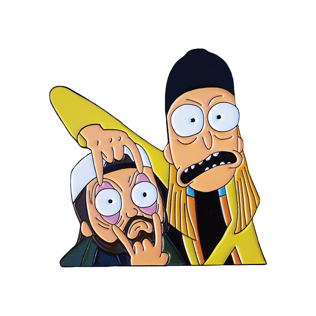 Jay and Silent Bob x Rick and Morty Crossover Enamel Pin
