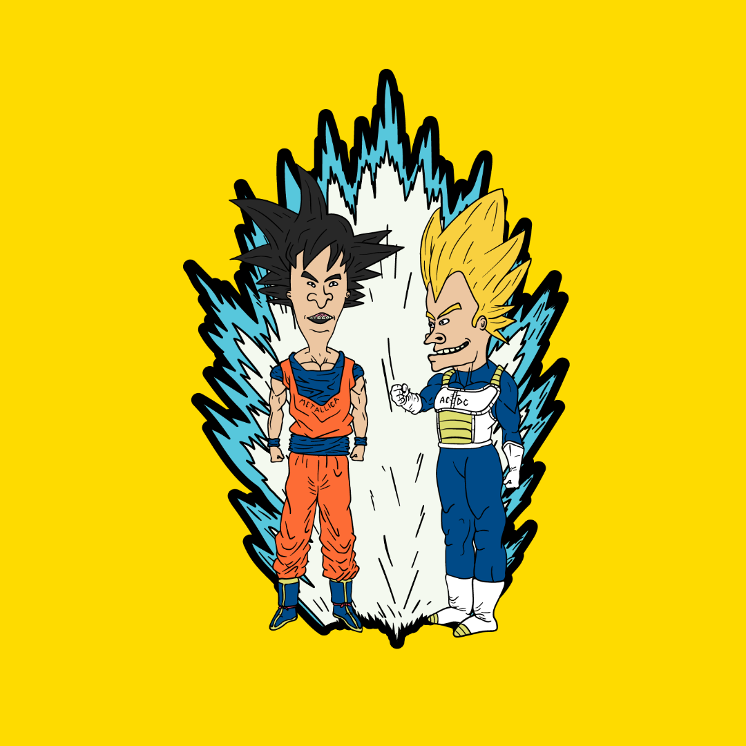 Super Saiyan Beavis and ButtHead Enamel Pin