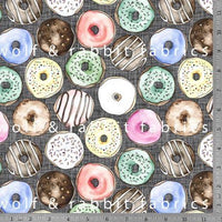 Donuts - Ash - GOTs Organic Jersey-Wolf and Rabbit-Splashings of Fabric