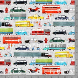 Watercolour Vehicles - Ash - GOTs Organic Jersey-Wolf and Rabbit-Splashings of Fabric