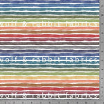 Fall Rainbow Stripes - GOTs Organic Jersey-Wolf and Rabbit-Splashings of Fabric