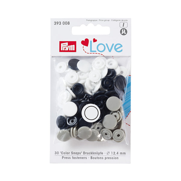 Prym Love Plastic Snaps - Black/Grey/White Mix-Prym-Splashings of Fabric