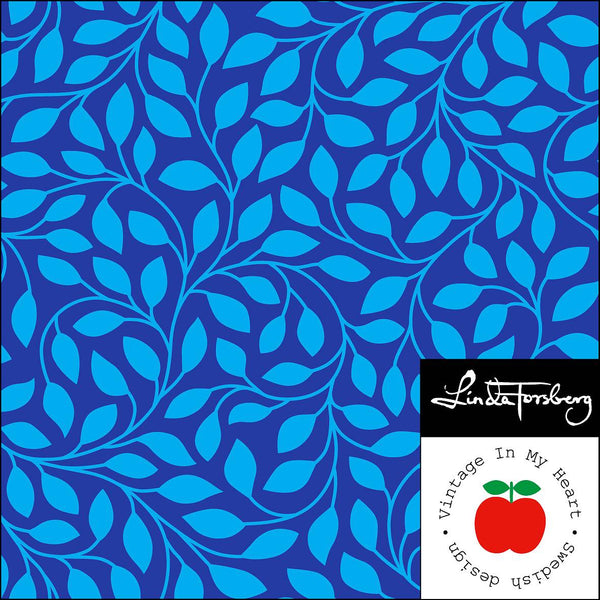 Leaves - Blue - Organic Jersey-Vintage In My Heart-Splashings of Fabric