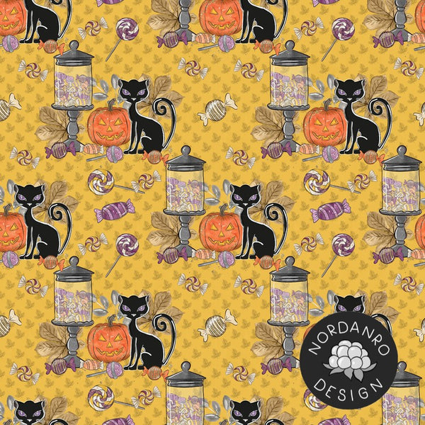 Halloween Cat - Organic Jersey-Nordanro-Splashings of Fabric
