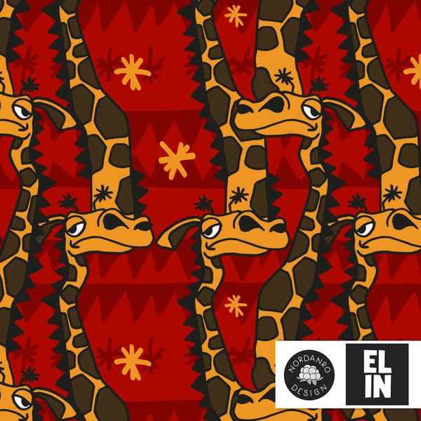 Giraffes - Ruby Red - Organic Jersey-Nordanro-Splashings of Fabric