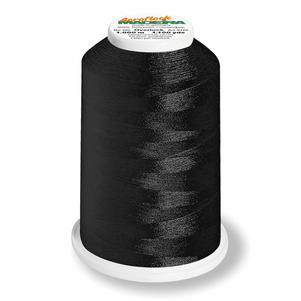 Black 8000 - Madeira Aeroflock No. 100 Bulk Thread 1000m-Madeira-Splashings of Fabric